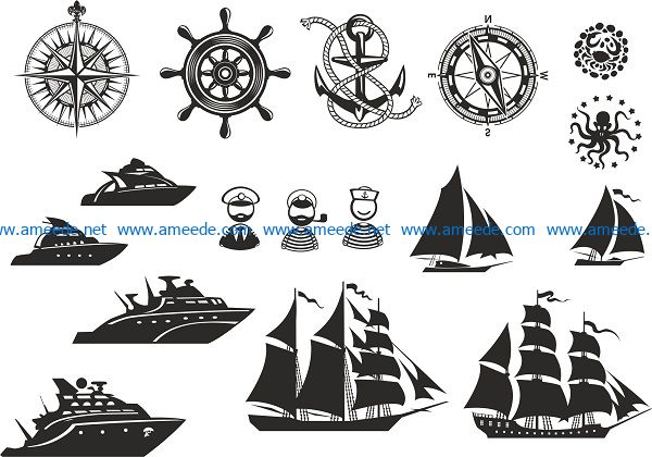 nautical vector set file cdr and dxf free vector download for print or laser engraving machines
