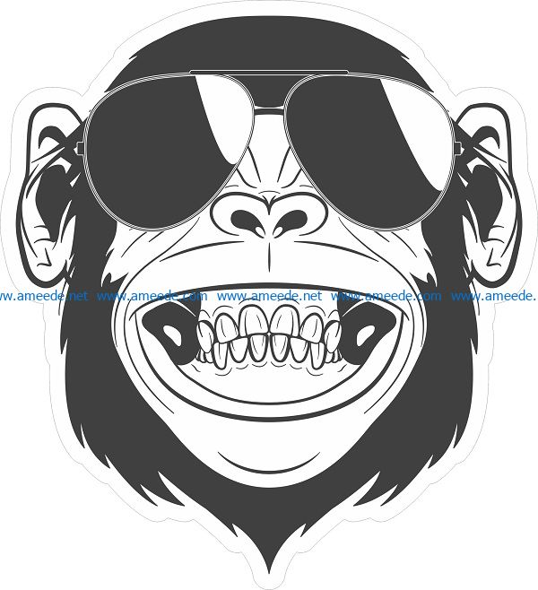 orangutan sticker file cdr and dxf free vector download for print or laser engraving machines