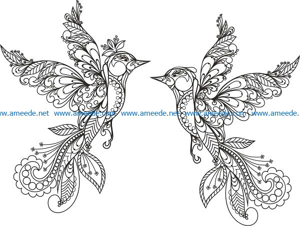 ornament birds vector file cdr and dxf free vector download for print or laser engraving machines