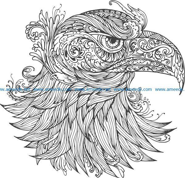ornamental eagle vector file cdr and dxf free vector download for print or laser engraving machines