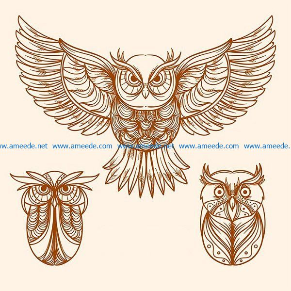 owl file cdr and dxf free vector download for print or laser engraving machines