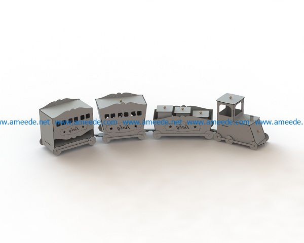 paper train file cdr and dxf free vector download for Laser cut