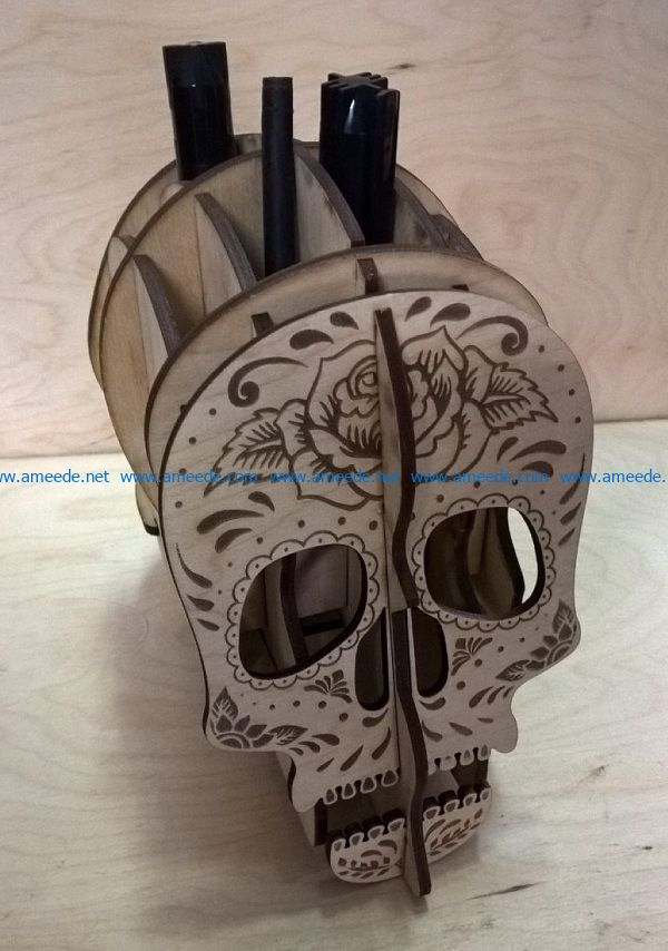 pen case shaped like a skull file cdr and dxf free vector download for Laser cut