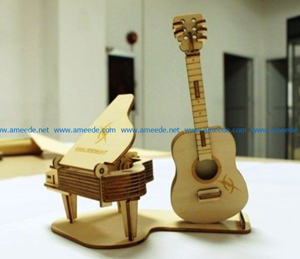 piano and guitar file cdr and dxf free vector download for Laser cut