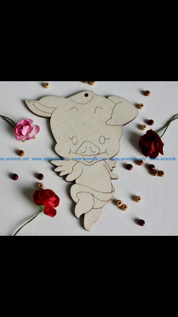 pig angel file cdr and dxf free vector download for Laser cut