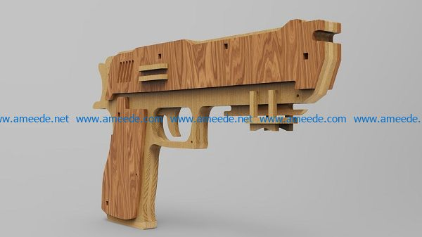 pistol file cdr and dxf free vector download for Laser cut