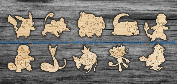 pokemon file cdr and dxf free vector download for print or laser engraving machines
