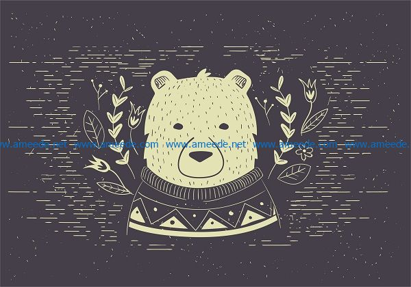 polar bear vector file cdr and dxf free vector download for print or laser engraving machines