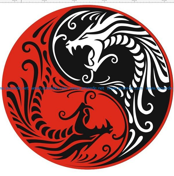 red dragon and black dragon file cdr and dxf free vector download for print or laser engraving machines