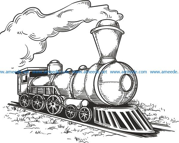 retro locomotive file cdr and dxf free vector download for print or laser engraving machines