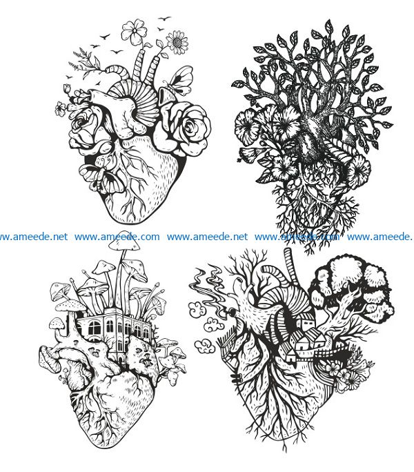 roots file cdr and dxf free vector download for print or laser engraving machines