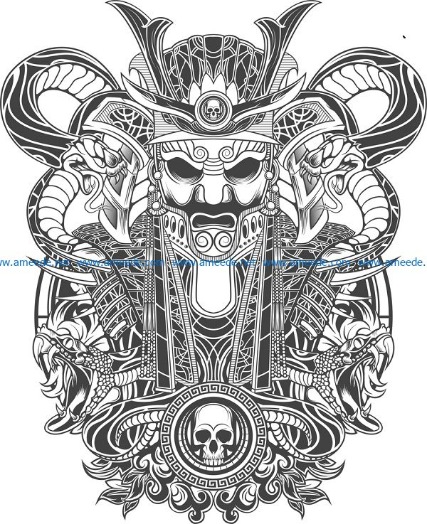 samurai print file cdr and dxf free vector download for print or laser engraving machines