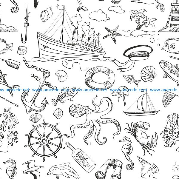 sea doodle set file cdr and dxf free vector download for print or laser engraving machines