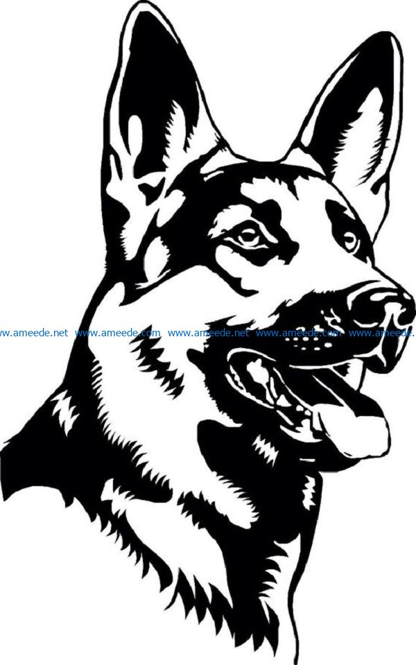service dog file cdr and dxf free vector download for print or laser engraving machines