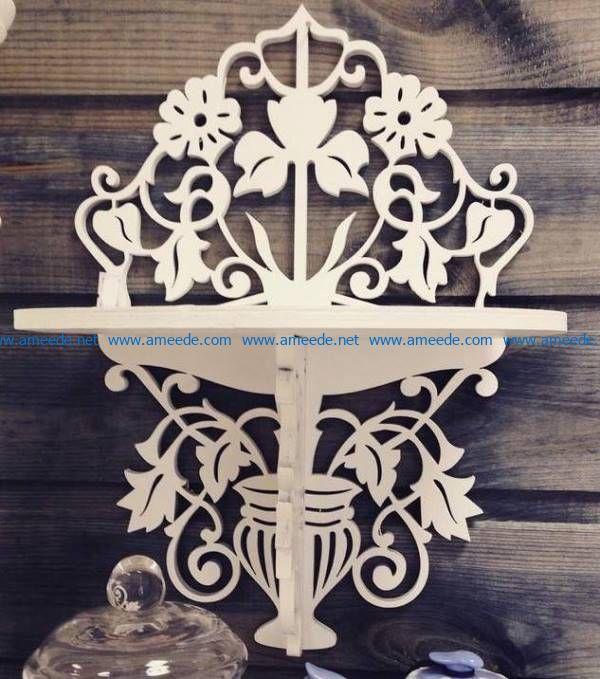 shelf shape flower vase file cdr and dxf free vector download for Laser cut CNC