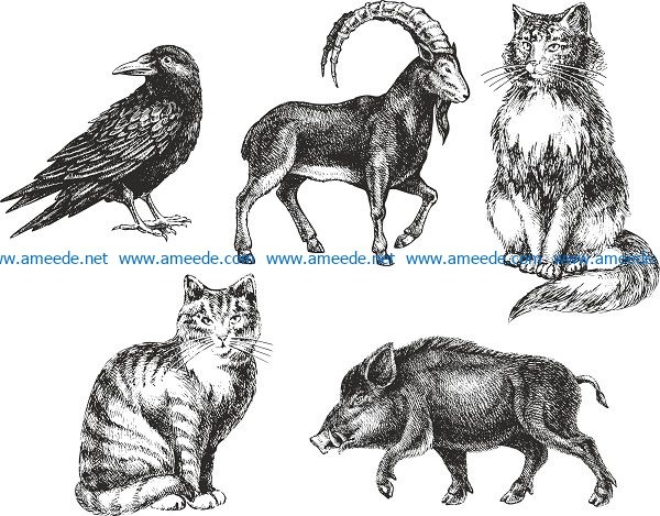 sketched handdrawn animals file cdr and dxf free vector download for print or laser engraving machines
