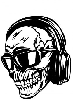 skull headphones sunglasses file cdr and dxf free vector download for print or laser engraving machines