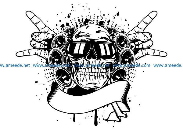 skull in sunglasses and hand file cdr and dxf free vector download for print or laser engraving machines
