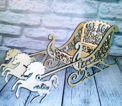 sleigh with horses file cdr and dxf free vector download for Laser cut