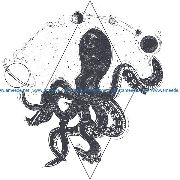 space octopus file cdr and dxf free vector download for print or laser engraving machines