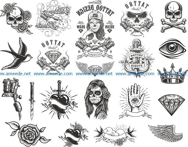 tattoo compositions pack file cdr and dxf free vector download for print or laser engraving machines