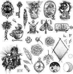 tattoo illustration set file cdr and dxf free vector download for print or laser engraving machines