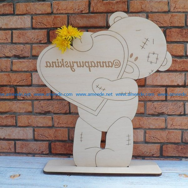 teddy bear holding heart file cdr and dxf free vector download for Laser cut