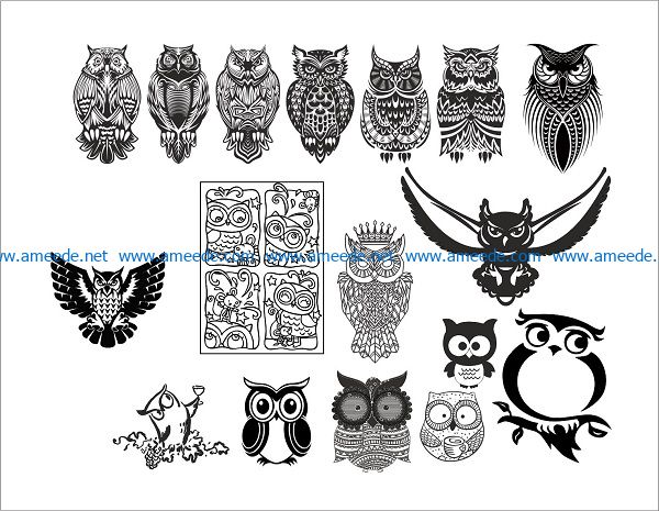 the owl owls file cdr and dxf free vector download for print or laser engraving machines