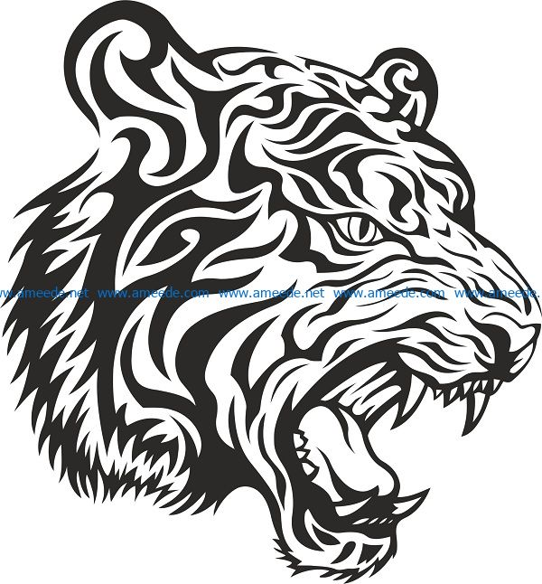 tiger tribal file cdr and dxf free vector download for print or laser engraving machines
