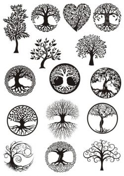 trees siluet file cdr and dxf free vector download for print or laser engraving machines