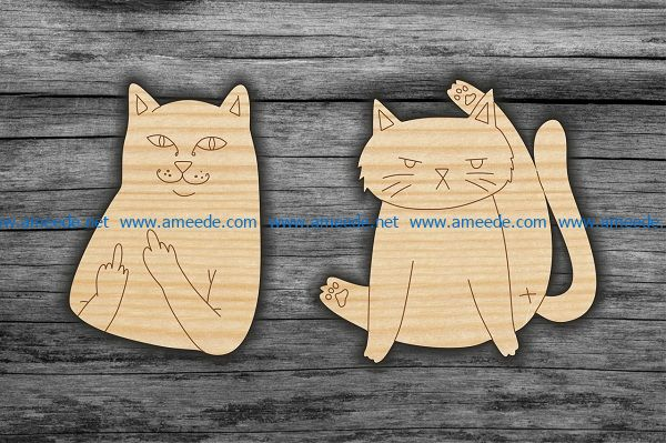 two cats file cdr and dxf free vector download for Laser cut
