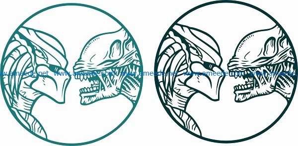 two demon faces touching file cdr and dxf free vector download for print or laser engraving machines