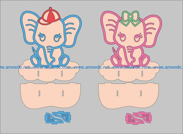 two elephants file cdr and dxf free vector download for Laser cut