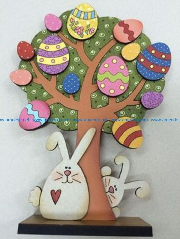 two rabbits under a tree file cdr and dxf free vector download for Laser cut