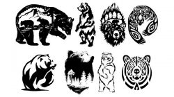 types of bears file cdr and dxf free vector download for print or laser engraving machines