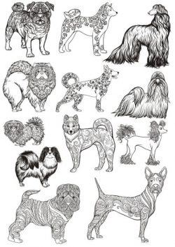 types of dogs file cdr and dxf free vector download for print or laser engraving machines
