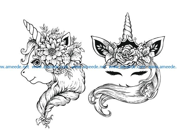 unicorn two file cdr and dxf free vector download for print or laser engraving machines