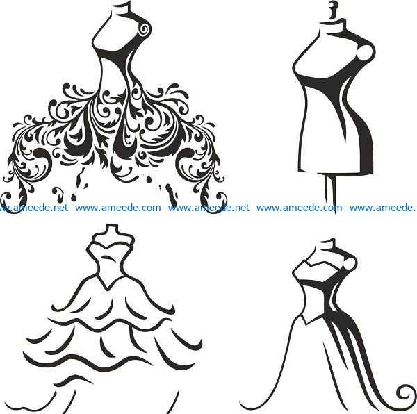 wedding dress file cdr and dxf free vector download for print or laser engraving machines