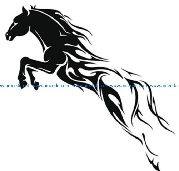 wind horse file cdr and dxf free vector download for print or laser engraving machines