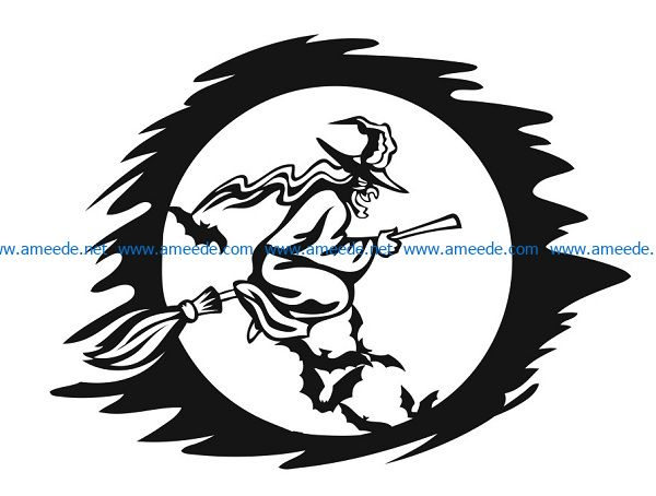 witch file cdr and dxf free vector download for print or laser engraving machines
