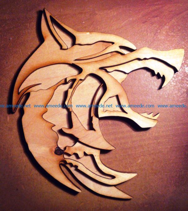 witcher wolf file cdr and dxf free vector download for Laser cut