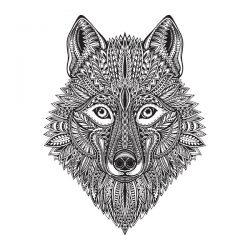 wolf face file cdr and dxf free vector download for Laser cut