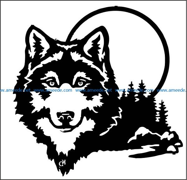 wolf moon file cdr and dxf free vector download for print or laser engraving machines