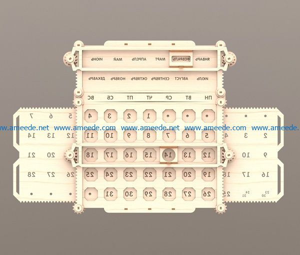 wooden calendar file cdr and dxf free vector download for Laser cut