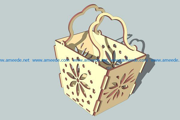 wooden flower basket with vignette file cdr and dxf free vector download for Laser cut