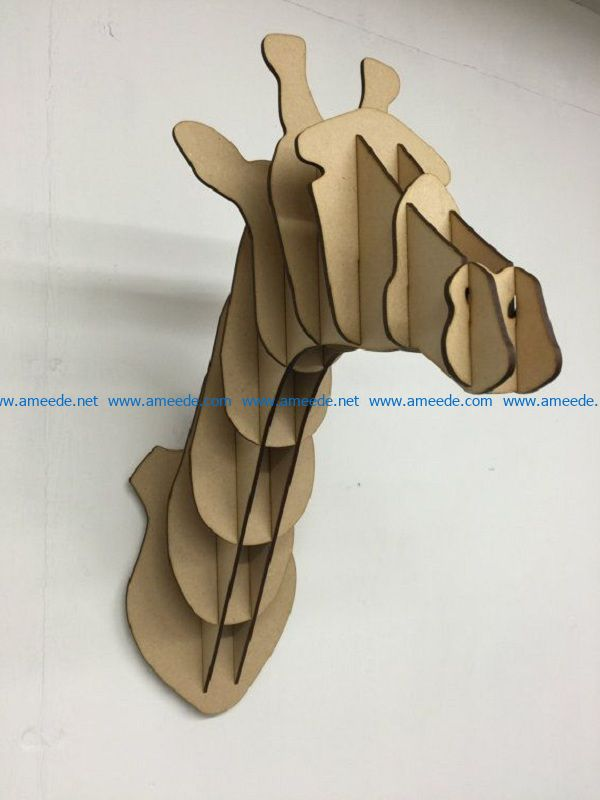 wooden giraffe head hanging on the wall file cdr and dxf free vector download for Laser cut