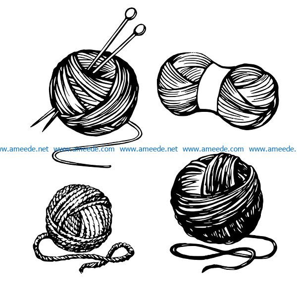 wool yarn file cdr and dxf free vector download for print or laser engraving machines