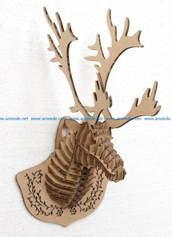 3D Deer head file cdr and dxf free vector download for Laser cut