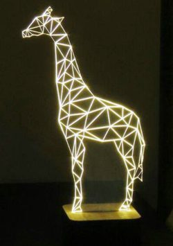 3D illusion led lamp giraffe free vector download for laser engraving machines