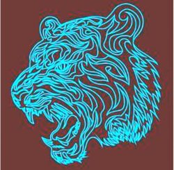 3D illusion led lamp tiger free vector download for laser engraving machines